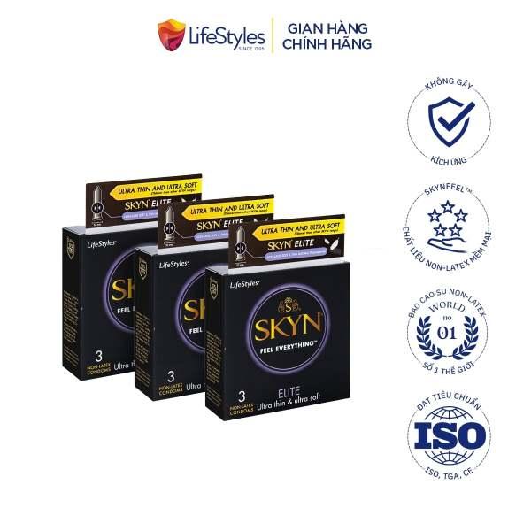 Bộ 3 hộp bao cao su LifeStyles SKYN Elite Non-Latex siêu mỏng siêu mềm cao cấp 3 bao, biện pháp phòng tránh thai và các bệnh đường tình dục tiện lợi