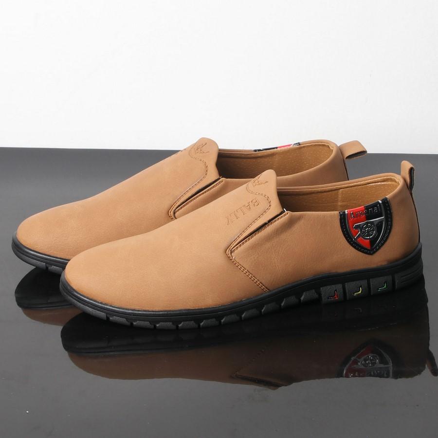 [HCM]Giày lười nam màu da bò đế đen chất lượng tốt thiết kế thời trang SG429 Saosaigon