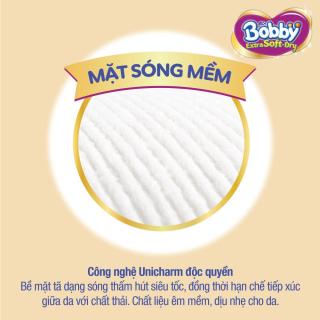 [QUÀ TẶNG KHÔNG BÁN] Hộp 2 miếng tã bỉm dán cao cấp Bobby Extra Soft Dry mă t bông siêu thâ m hu t (size M & size L) 3