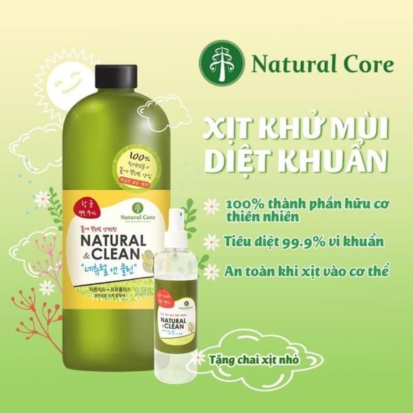 [Chai 1.5 lít] Xịt khử mùi diệt 99.9% vi khuẩn ngay lập tức Natural Clean chai lớn siêu tiết kiệm