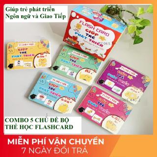 Combo 5 chủ đề Thẻ học thông minh Flashcard loại to 300 câu hỏi và trả lời giúp trẻ phát triển ngôn ngữ và giao tiếp thumbnail