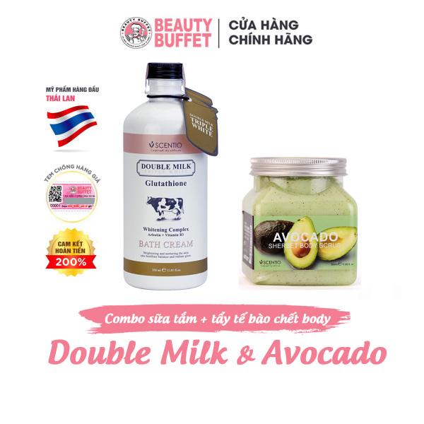 Combo Sữa tắm trắng da Double Milk 350ml và Tẩy tế bào chết body làm sáng mịn da Scentio Avocado 350ml