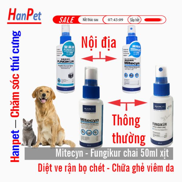 (Hàng Anh Quốc) Mitecyn phun diệt ve ( loại thẩm thấu ) 50ml (hanpet 4711664) Thu ốc xịt trị ve ghẻ chó mèo