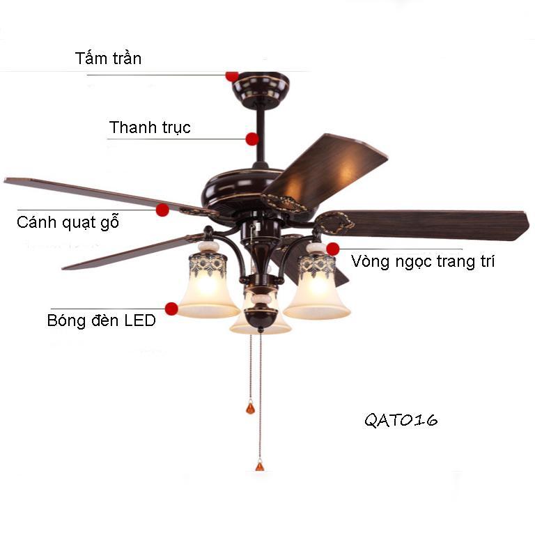 Quạt trần đèn 5 cánh gỗ mang phong cách Mỹ QAT016 - Tinh tế độc đáo qua từng chi tiết thiết kế
