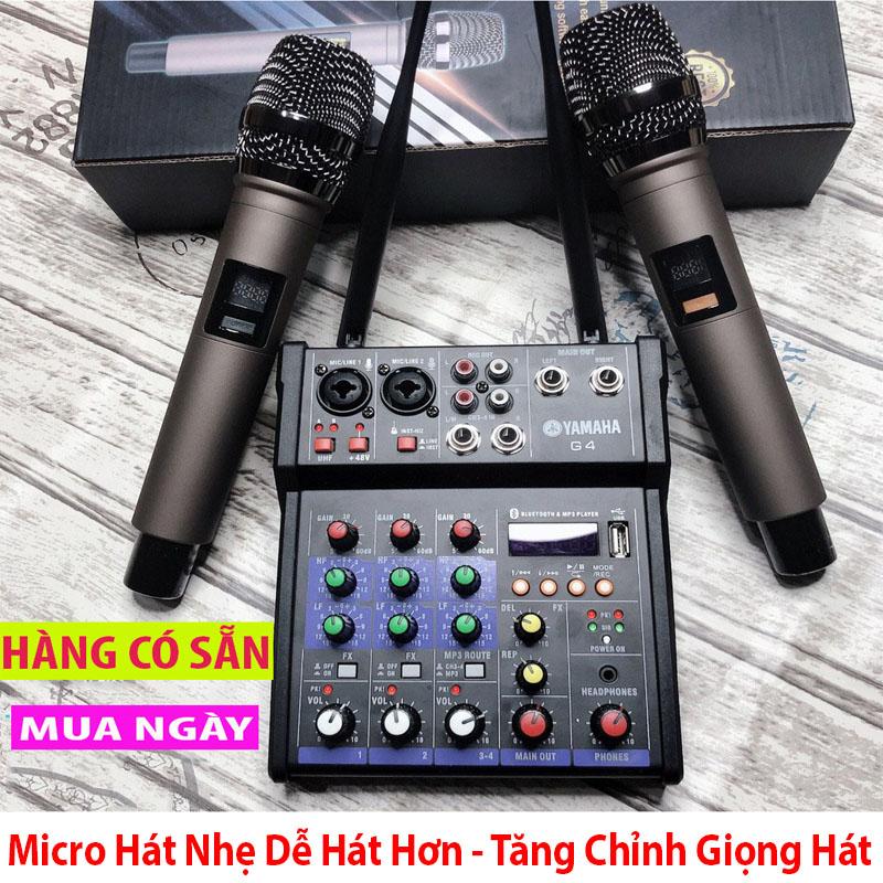 Trọn Bộ Âm Thanh Kiêm Lọc Âm Mixer Yamaha G4 Kèm 2 Mic- Tích Hợp Chỉnh Vang ,Echo- Tăng Chỉnh Giọng Hát Theo Ý Muốn- Biến Mọi Loa Thành Karaoke Chuyên Nghiệp-  Âmly Dàn Hát Karaoke Gia Đình Âm Thanh Sống Động- Kết nối USB 2.0, Bluetooth
