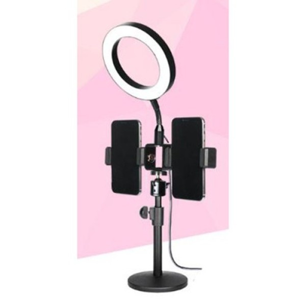 Bộ giá đỡ điện thoại Livestream có đèn Led-Đèn led livestream để bàn mini tích hợp 2 giá đỡ điện thoại kiểu chữ T