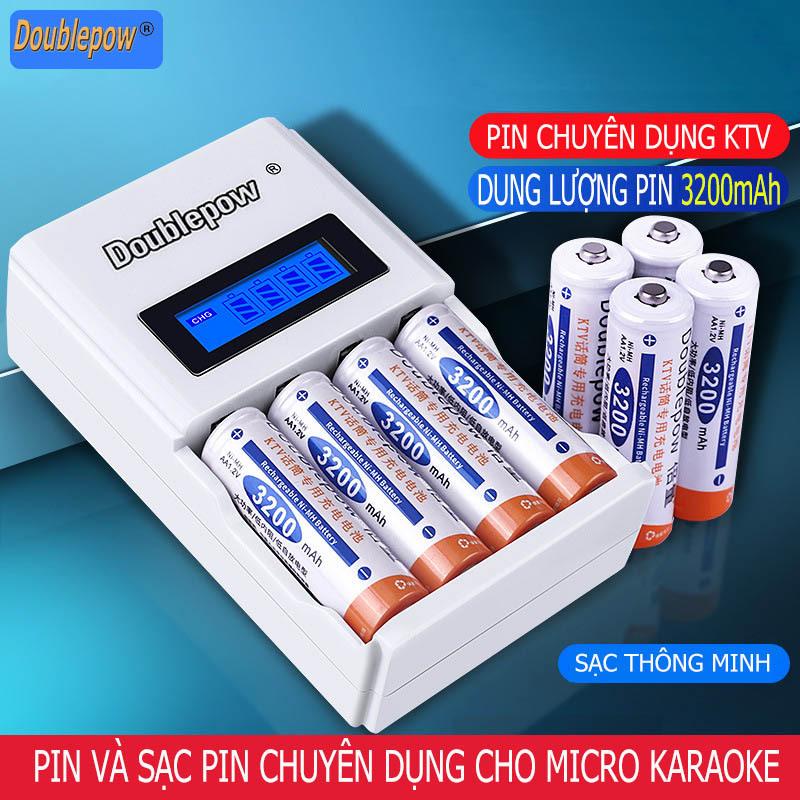 Bộ sạc thông minh K98 kèm pin KTV AA 3200mAh (pin chuyên dùng Micro - Karaoke) chính hãng Doublepow - số lượng pin theo phân loại khách chọn
