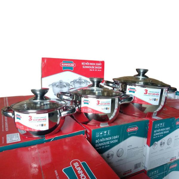 Bộ nồi SUNHOUSE SH334 inox 3 đáy sử dụng cho mọi loại bếp