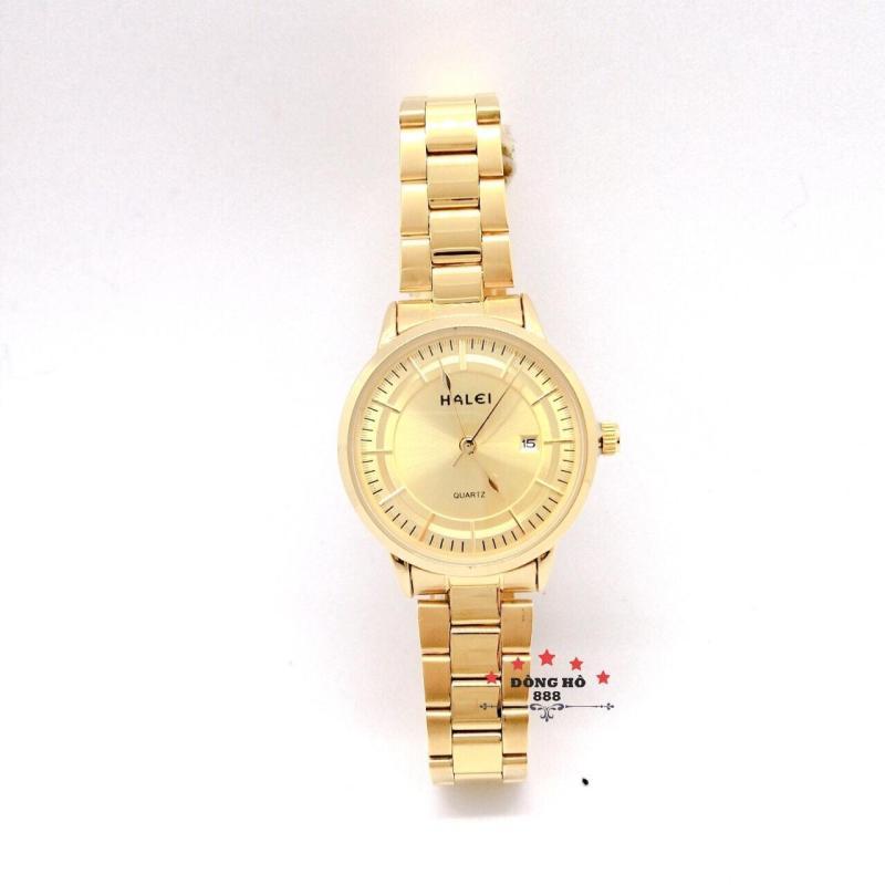 Đồng hồ nữ HALEI dây kim loại có lịch thời thượng ( HL565 dây vàng mặt vàng ) - TẶNG 1 vòng tỳ hưu phong thuỷ
