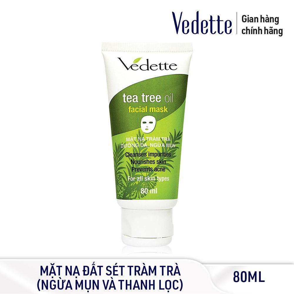 Mặt nạ đất sét sạch sâu dịu nhẹ Tràm Trà dưỡng da ngừa mụn Vedette Tea Tree Oil Facial Mask 80ml Nhật Bản