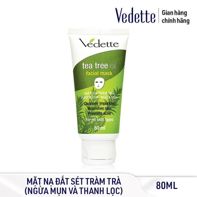 Mặt nạ đất sét sạch sâu dịu nhẹ Tràm Trà dưỡng da ngừa mụn Vedette Tea Tree Oil Facial Mask 80ml nhập khẩu