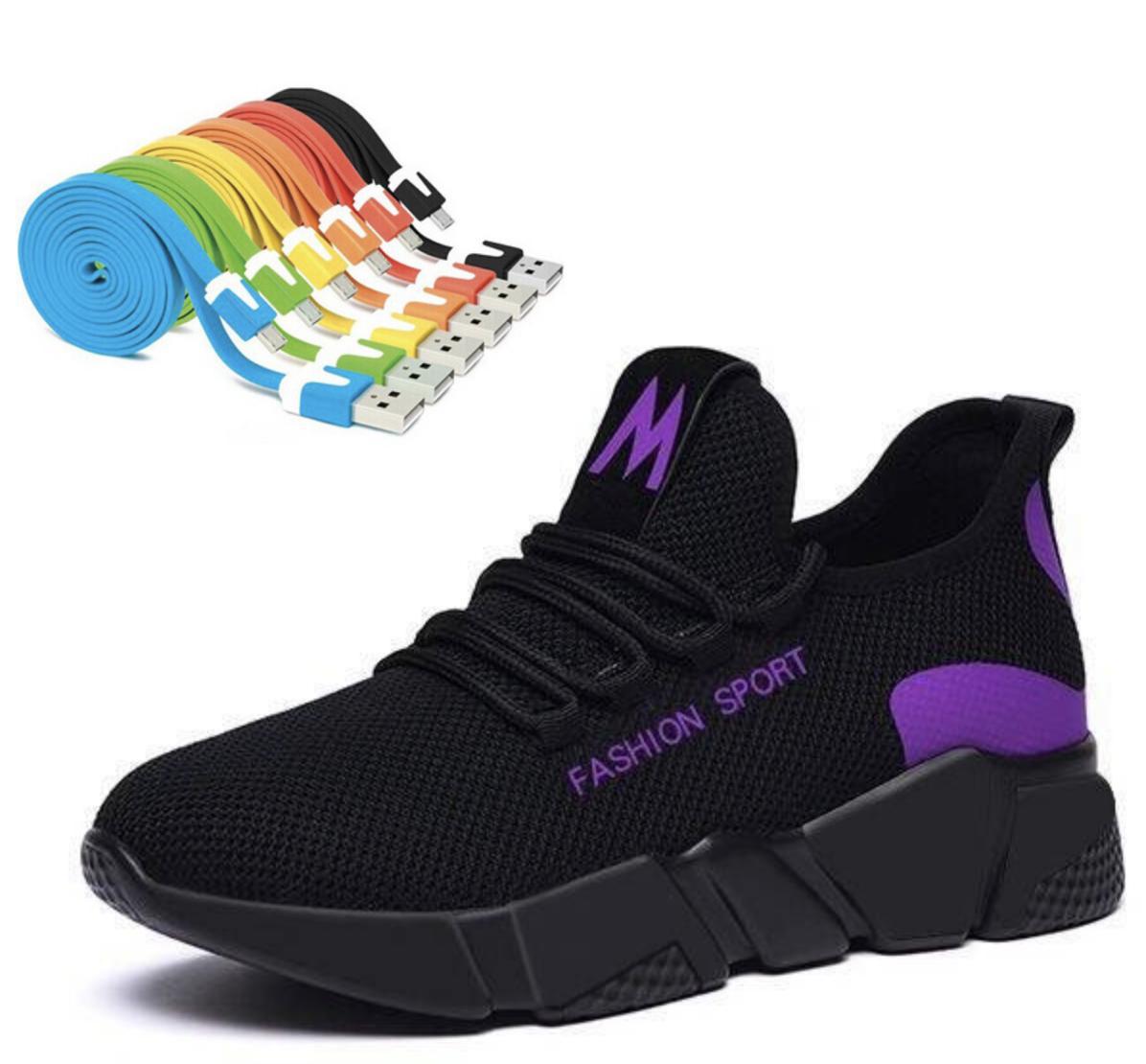 Giày Nữ Đẹp Thể Thao Sneaker Thời Trang FASHION SHOSE - ACG SIZE 36-37-38-39-40 đế nhẹ độ bền của sản phẩm hơn 2 năm chất liệu vả (Đen phối Đỏ-Đen phối tím-Đen) + Tặng Cáp sạc và truyền dữ liệu Micro USB  X2 dây siêu bền hỗ trợ sạc nhanh cho đi