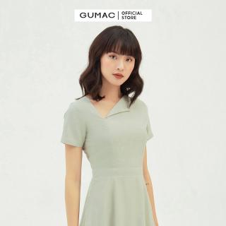 Váy đầm nữ đẹp dáng xòe thiết kế cổ lật cách điệu, bản eo tôn dáng, che khuyết điểm bụng màu xanh nhạt trẻ trung thời trang GUMAC mẫu mới DB365 chất liệu lụa pháp thumbnail