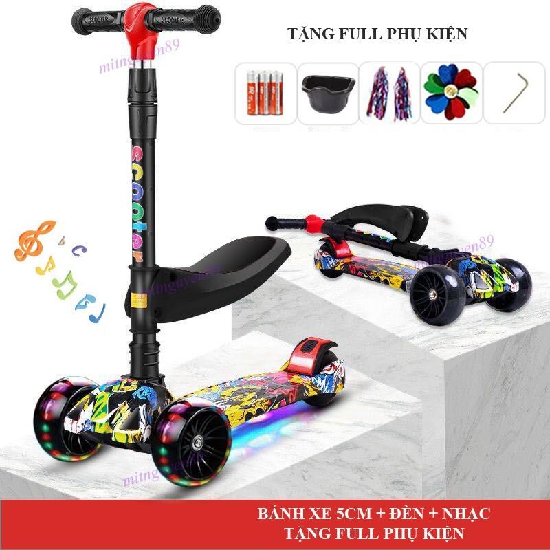 Mua [-Vip-] Xe trượt scooter cho bé GRAFFITI 3 bánh xe lớn có đèn nhạc phù hợp bé từ 2-14 tuổi (Tặng ghế ngồi + full phụ kện)