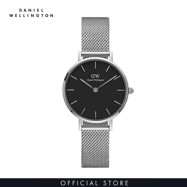 Đồng hồ Nữ Daniel Wellington dây lưới - Petite Sterling mặt đen - vỏ bạc