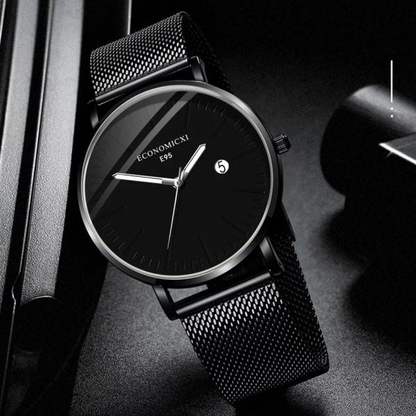 Đồng hồ nam ECONOMICXI dây thép lụa đen chạy lịch ngày cao cấp DZ10 (có kèm hộp) bán chạy