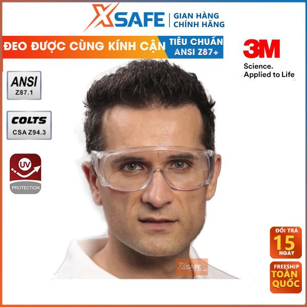 Kính bảo hộ 3M Tour-Guard V kính chống COVID, phòng dịch, chống bụi, tia UV, chống hóa chất đeo được cùng kính cận Mắt kính trong suốt, bảo vệ mắt trong y tế, lao động, đi xe máy (màu trắng) - Sản phẩm chính hãng XSAFE