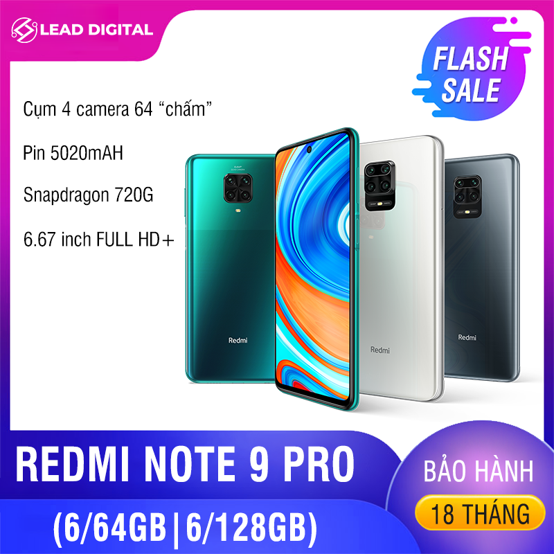 [BẢN QUỐC TẾ] Điện thoại Xiaomi Redmi Note 9 PRO 6/64GB 6/128GB - Màn hình 6.67 FULL HD+, Snapdragon 720G 8 nhân, Camera chính 64 MP, Camera trước 16MP góc siêu rộng, pin 5020 mAh sạc nhanh 30W - BH Chính hãng 18 tháng