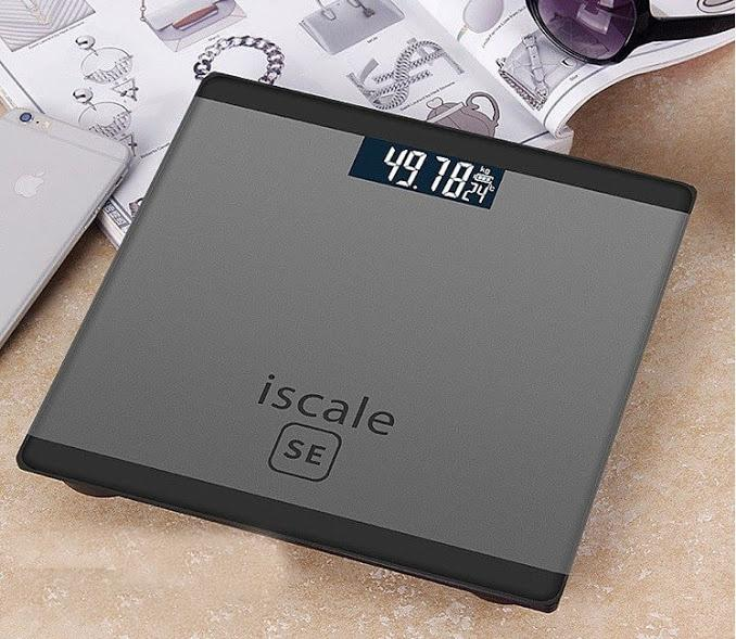 Cân sức khỏe điện tử mặt kính cường lực Iscale SE tặng kèm Pin AA tặng kèm thước dây nhập khẩu