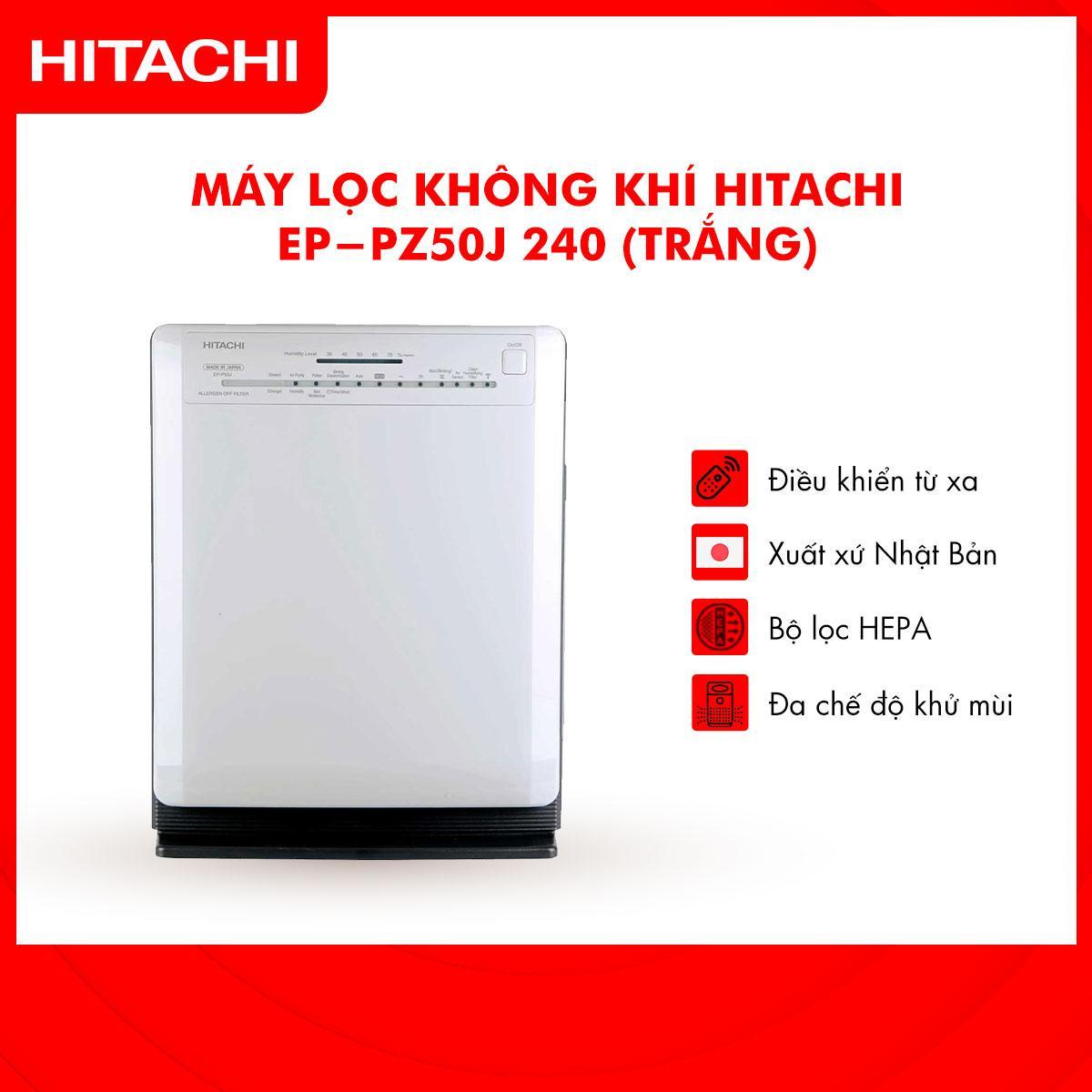 Bảng giá Máy lọc không khí Hitachi Ep-PZ50J 240 (Trắng) - Hàng Phân Phối Chính Hãng, Phù hợp với diện tích 33m2