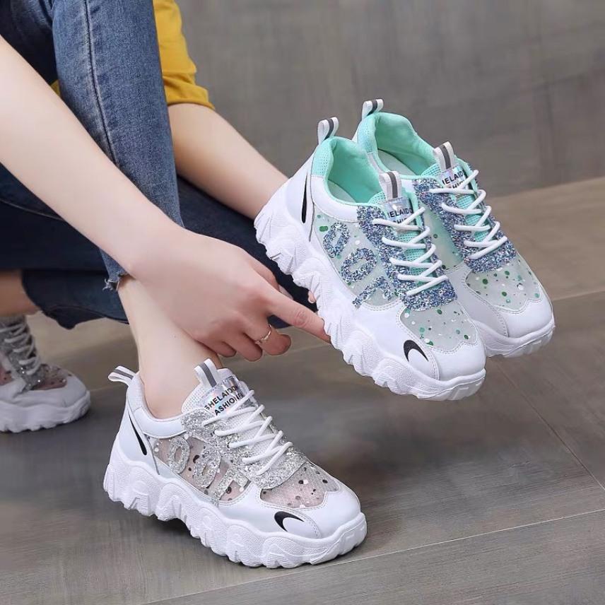 giày thể thao nữ đế răng cưa 100 đính đá lấp lánh cực đẹp hàng full box mẫu hot 2021 giá rẻ