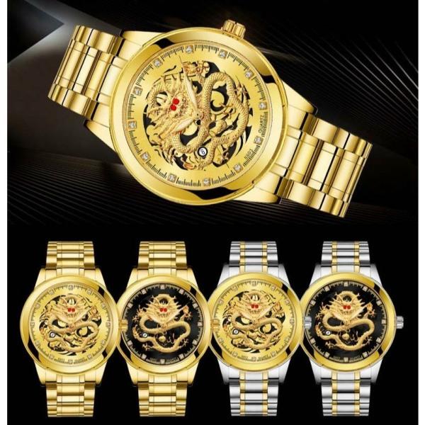 Đồng hồ thời trang Nam Rồng vàng có lịch - kim dạ quang sang trọng AA1 bán chạy