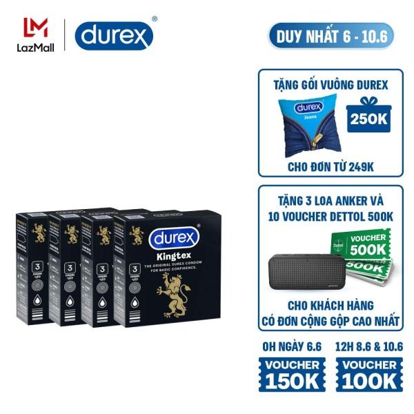 [6-10.6][VOUCHER ĐẾN 150K]Combo 4 hộp bao cao su Durex Kingtex 3 bao - 4 hộp 12 bao