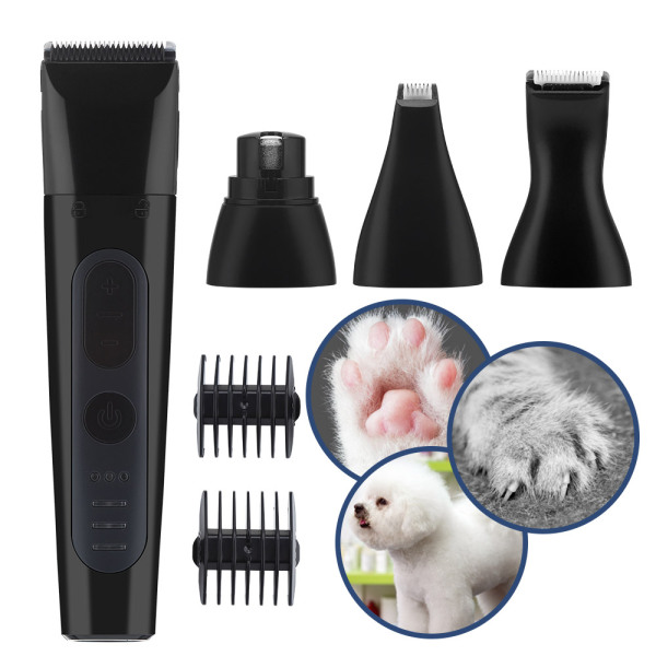 PASTSKY 4 in 1 Professional Dog Hair Clipper Nail Grinder Hair Clipper Multifunctional 3 Speeds USB Rechargeable Electric Pet Paws Trimmer Grinder with Limit Combs Painless Hair Grooming Trimming for Small Medium Large Dogs Cats Pets