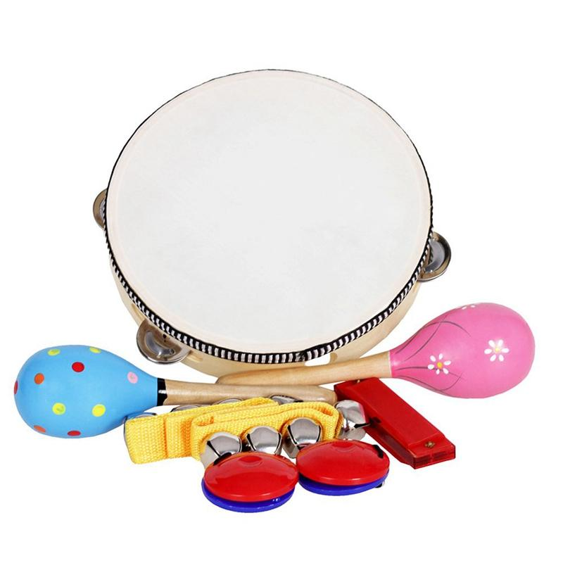 Toys Musical Orff Instruments Sets Band Rhythm Kit Tambourine Maracas Castanets Handbells Harmonica for Children 8Pcs/Set