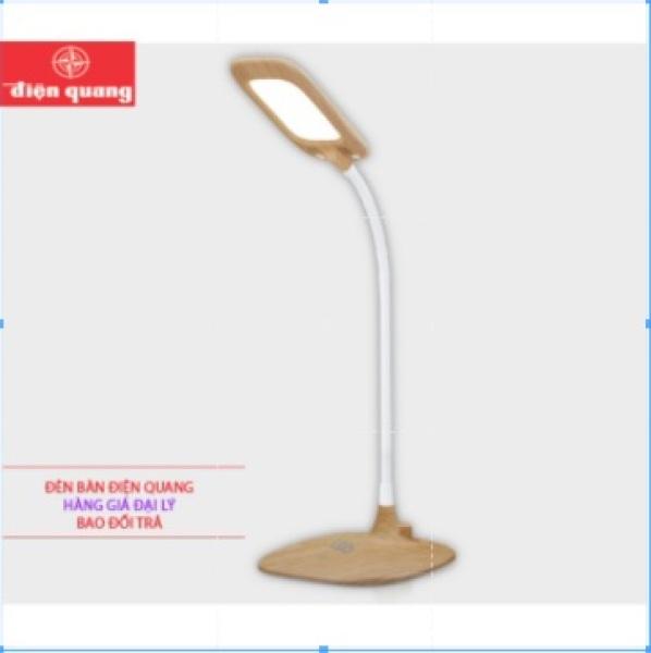 Đèn bàn học LED, có sạc, bảo vệ thị lực Điện Quang LDL12B 6W ( Pin LITHIUM, 6W, vỏ giả gỗ )