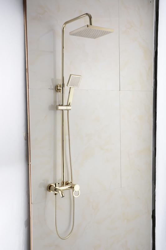 Bộ sen cây tắm đứng nóng lạnh chất liệu đồng mạ crom màu vàng sang trọng - AV915