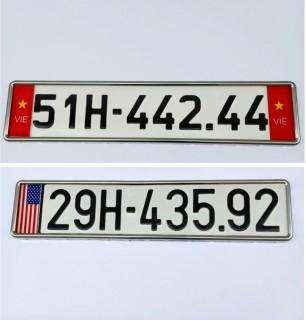Khung biển số ô tô có cờ, khung biển số mẫu mới và mẫu cũ có viền inox đẹp(1 khung) thumbnail