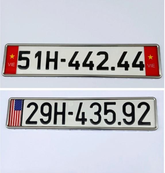 Khung biển số ô tô có cờ, khung biển số mẫu mới và mẫu cũ có viền inox đẹp(1 khung)