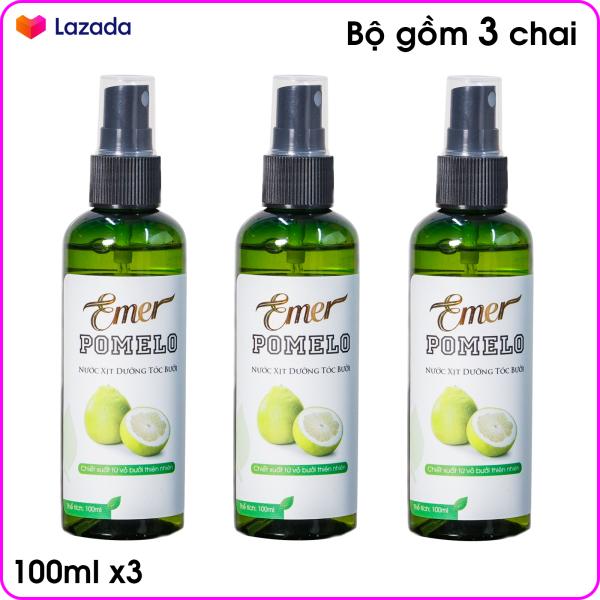 Bộ 3 chai Xịt dưỡng tóc Tinh Dầu Bưởi giảm rụng tóc POMELO (100ml x 3)