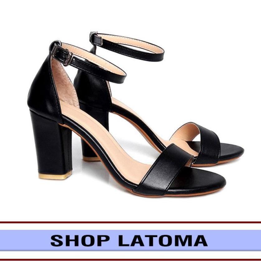 Giày cao gót đế vuông 7 phân quai ngang sang trọng quý phái đi làm hay dự tiệc dạo chơi đều thích hợp thời trang cao cấp Latoma TA0471 (Đen) giá rẻ