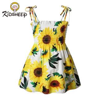 Váy Bé Gái Trẻ Em Kidsheep, Váy Không Tay Váy Có Dây Đeo Váy In Váy Chữ A Bộ Trang Phục Áo Xếp Li Co Giãn Quần Áo Bé Gái Cho Bé Gái 3T-7T