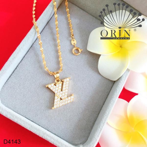 Dây chuyền nữ dạng xoắn mặt chữ L và V đính đá thiết kế bền màu đẳng cấp Orin D4143