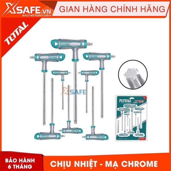 Bộ 8 chìa lục giác bông tay cầm chữ T TOTAL THHW8083 chịu nhiệt Lục giác chất liệu Cr-V, tay cầm kiểu mới, mạ Chrome - Sản phẩm chính hãng XSAFE