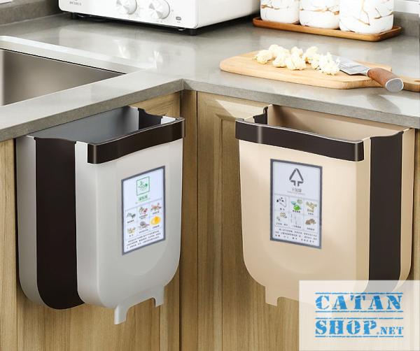 Thùng rác, Giỏ rác VUÔNG đa năng gấp gọn treo kẹp tủ bếp nhựa dẻo bền cho nhà bếp và xe hơi GD352-ThungracGG-Vuong