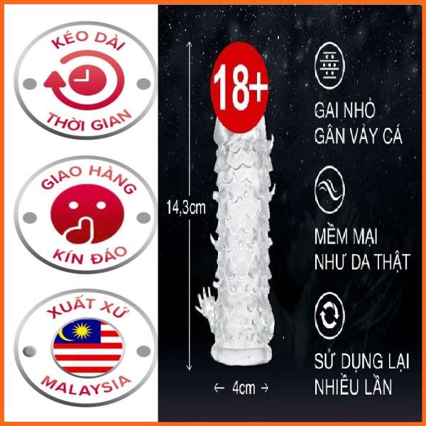 Bao Cao Su Malaysia Azodra Đôn vẩy cá sử dụng nhiều lần cao cấp