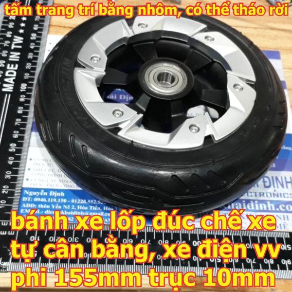 bánh xe lốp đúc chế xe tự cân bằng, xe điện vv phi 155mm trục 10mm kde6375