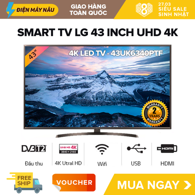 Bảng giá Smart Tivi LG 43 inch UHD 4K - Model 43UK6340PTF (Có Magic Remote)