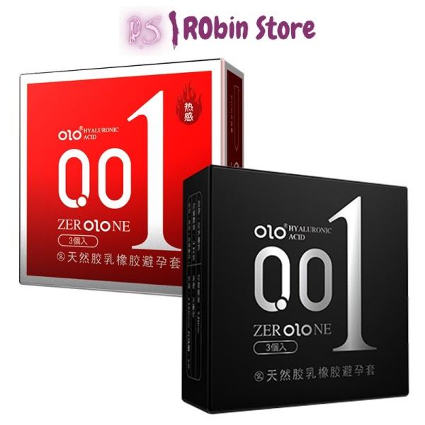 Bao cao su OLO siêu mỏng 0.01mm, kéo dài thời gian đỏ, đen - hộp 3 chiếc - ROBIN STORE