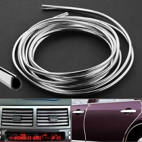 Cuộn 13M nẹp viền cửa ô tô chữ U mạ crom trang trí và chống xước hoàn hảo dành cho nhiều loại xe ô tô