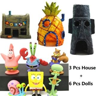 9 Cái Bộ Nhựa trang trí hồ cá Phim hoạt hình Ngôi nhà dứa 6 Cái một nhân vật hoạt hình SpongeBob + 3 Cái nhựa hoạt hình trang trí nhà bọt biển Bộ trang trí hồ cá thumbnail