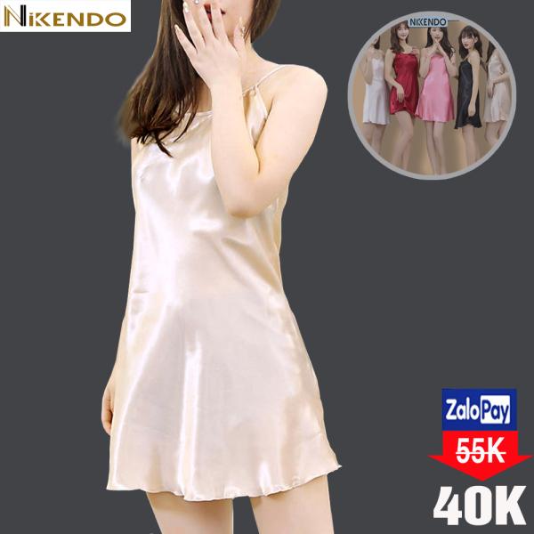 Đầm Ngủ 2 dây Lụa Satin Cao Cấp - Đồ Ngủ Nữ Sexy - Váy Ngủ Nữ 2 Dây Vải Satin Cao Cấp  Thời Trang Nikendo VN01