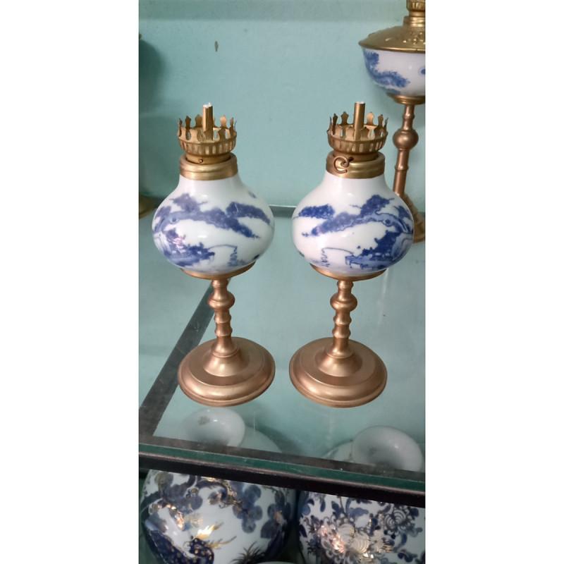 01 đèn thờ dầu chân đồng gốm sứ Bát Tràng