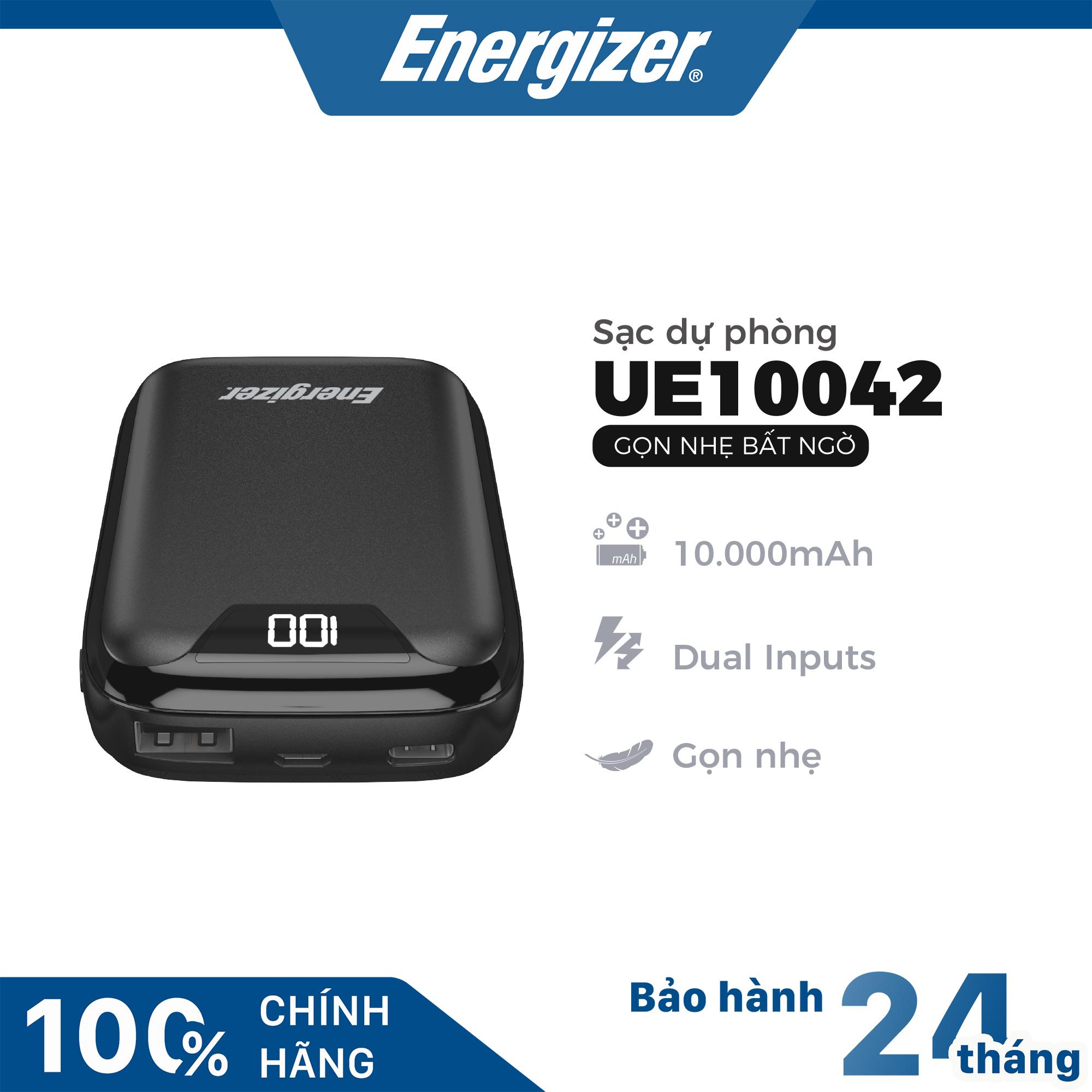 [BEST SELLER] Sạc dự phòng Energizer UE10042 10000mAh hỗ trợ sạc nhanh, có màn hình LED, thiết kế nhỏ gọn