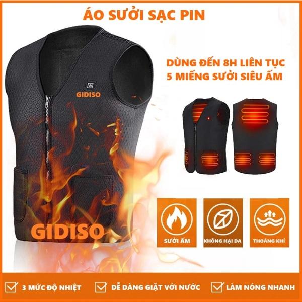 Áo sưởi GIDISO Áo ghi lê sưởi ấm dùng pin dự phòng Có điều chỉnh nhiệt độ từ 45 độ đến 65 độ - áo khoác gile