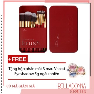 Bộ cọ trang điểm hộp sắt 8 cây Collection Vacosi Makeup House BC14 (Hồng) + Tặng hộp phấn mắt 3 màu Vacosi Eyeshadow 5g ngẫu nhiên thumbnail